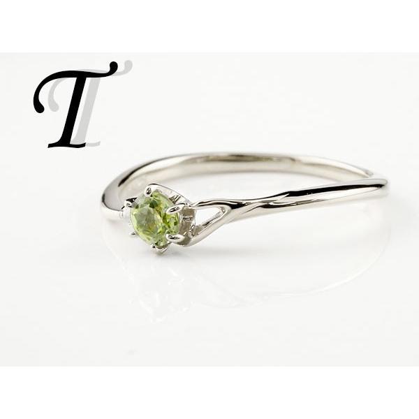 エンゲージリング イニシャル ネーム T 婚約指輪 ペリドット ダイヤモンド プラチナ 指輪 アルファベット レディース 8月誕生石 人気 クリスマス 女性