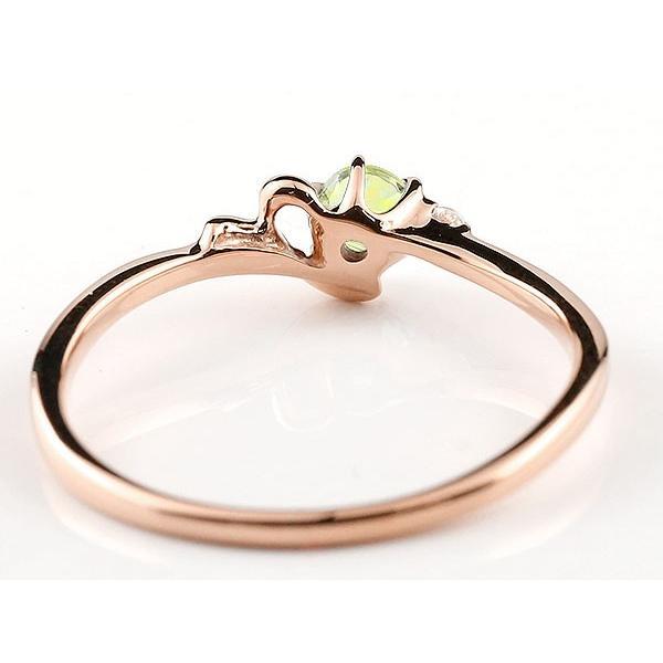 エンゲージリング イニシャル ネーム Y 婚約指輪 ペリドット ダイヤモンド ピンクゴールドk10 指輪 アルファベット 10金 レディース 8月誕生石 人気