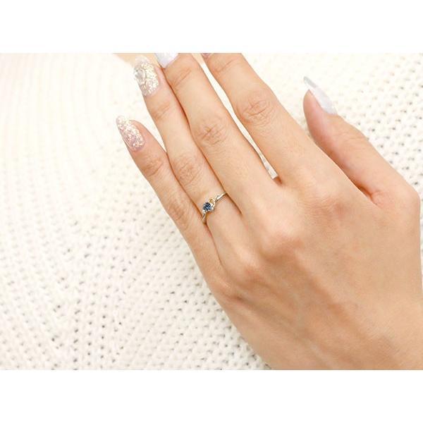 ピンキーリング イニシャル ネーム Y ブルーサファイア ダイヤモンド 華奢リング ホワイトゴールドk18 指輪 アルファベット 18金 レディース 9月誕生石