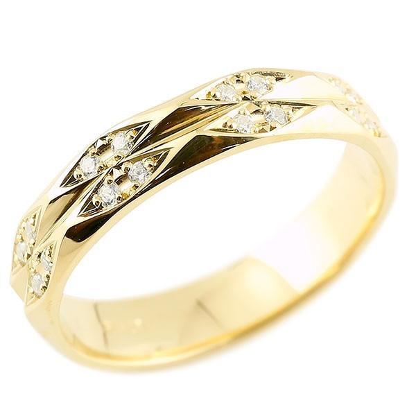 指輪 ダイヤモンド イエローゴールドk18 ダイヤリング 指輪 婚約指輪 カットリング 菱形 18金 宝石  クリスマス 女性