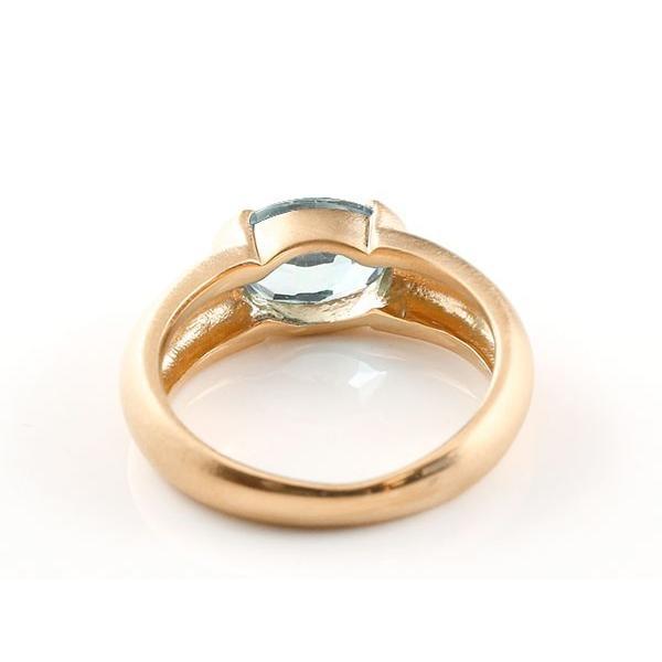 ピンキーリング ピンクゴールドk18 大粒 一粒 アクアマリン リング 18金 指輪 婚約指輪 エンゲージリング クリスマス 女性