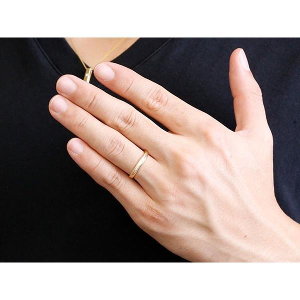 ペアリング 結婚指輪 イエローゴールドk10 マリッジリング 結婚式  スターダスト仕上げ ダイヤポイント加工 k10 10金 地金 緩やかなV字 送料無料|atrussun|03