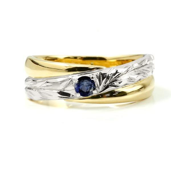 ハワイアンジュエリー 婚約指輪 プラチナ サファイア エンゲージリング ピンキーリング リング 指輪 一粒 イエローゴールドk18 18金コンビ 18k pt900 母の日|atrussun|02
