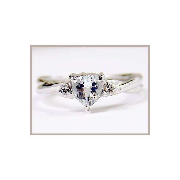 ピンキーリング 指輪 プラチナリング アクアマリンリングハートリングダイヤモンド ダイヤ 3月誕生石 宝石 クリスマス 女性