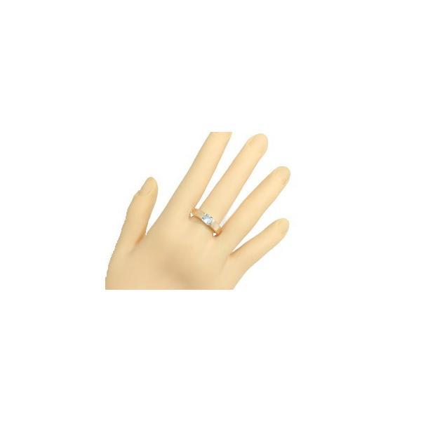 ピンキーリング ブルートパーズ リング ピンクゴールドk10 指輪 11月誕生石 ストレート スクエア 10金 クリスマス 女性