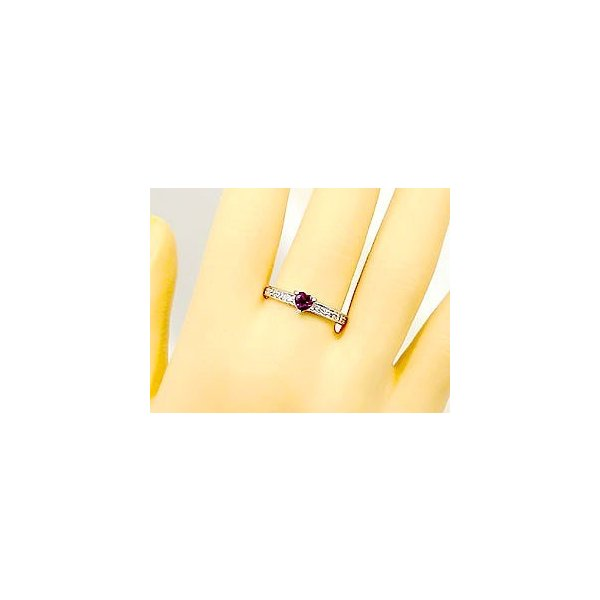 ピンキーリング ロードライトガーネットダイヤモンドリングホワイトゴールドk18指輪 18金 ダイヤ 1月誕生石 ストレート 宝石 クリスマス 女性