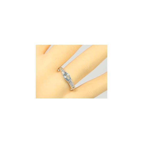 ピンキーリング サンタマリアアクアマリンリングダイヤモンドプラチナ 指輪 3月誕生石 ダイヤ ストレート 宝石 クリスマス 女性