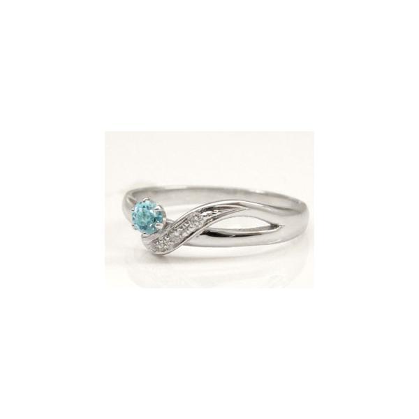 ピンキーリング 指輪 ホワイトゴールドk10リング サンタマリアアクアマリン ダイヤモンド10金 ダイヤ ストレート 宝石 クリスマス 女性