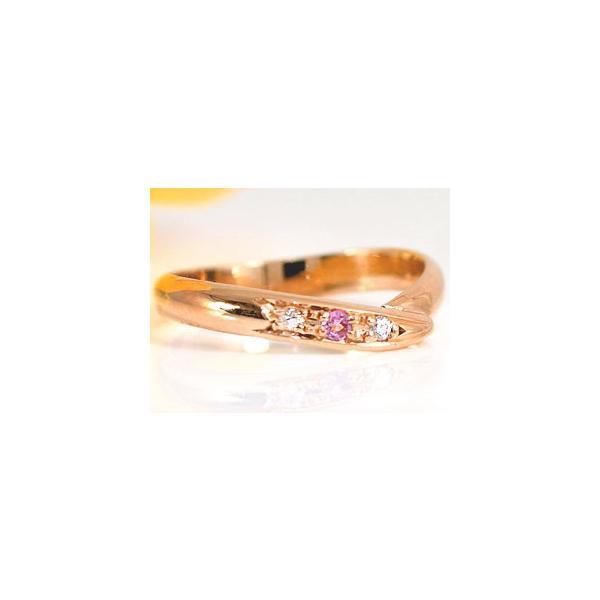 ピンキーリング ピンクゴールドk10 指輪 ダイヤモンド リングダイヤモンド 0.02ctピンクトルマリンk10 10金 ダイヤ ストレート 2.3 宝石 クリスマス 女性