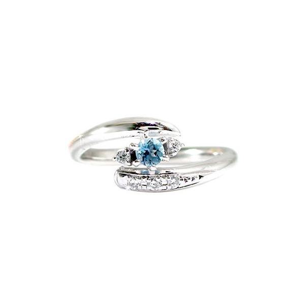 ピンキーリング サンタマリアアクアマリンリング ダイヤモンド プラチナリング 指輪 3月誕生石 ダイヤ ストレート 宝石