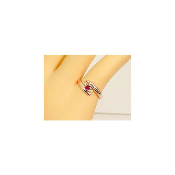 ピンキーリング ピンクゴールドk10 ルビーリング ダイヤモンド k10 10金 ダイヤ ストレート 2.3 指輪 宝石