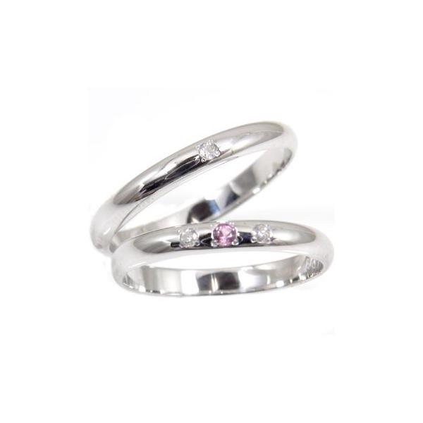 甲丸 結婚指輪 マリッジリング ペアリング ダイヤモンド ピンクサファイア ホワイトゴールドk18 結婚式 18金 ダイヤ ストレート カップル 2.3 クリスマス 女性