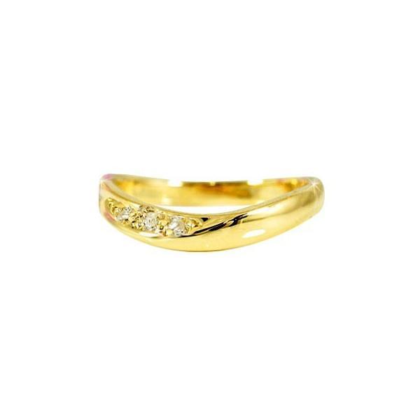 ピンキーリング 指輪 ダイヤモンド イエローゴールドk18 18金 ウェーブリング ダイヤ 4月誕生石 ストレート 宝石 クリスマス 女性