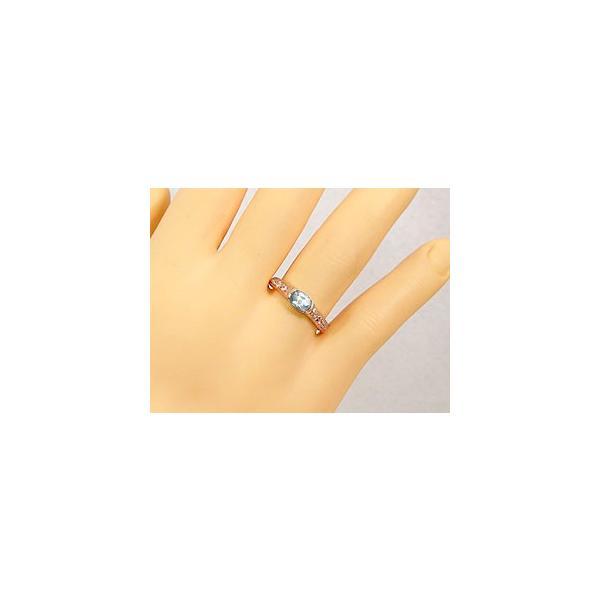 ピンキーリング 指輪 アクアマリンリングダイヤモンド ピンクゴールドk18 3月誕生石 18金 ダイヤ ストレート 宝石 クリスマス 女性