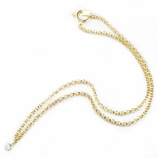 ダイヤモンド アンクレット イエローゴールド チェーン レディース ダイヤ 18金 宝石  クリスマス 女性