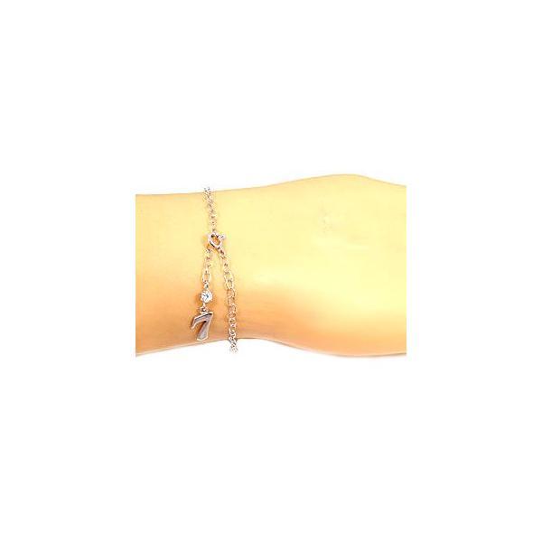 18金 ブレスレット  ダイヤモンド ナンバー 数字 ダイヤモンド 0.10ct ホワイトゴールドK18 一粒  チェーン ダイヤ レディース クリスマス 女性