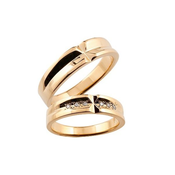 クロス ペアリング 結婚指輪 マリッジリング ダイヤモンド ピンクゴールドk18 結婚式 18金 ダイヤ ストレート カップル クリスマス 女性