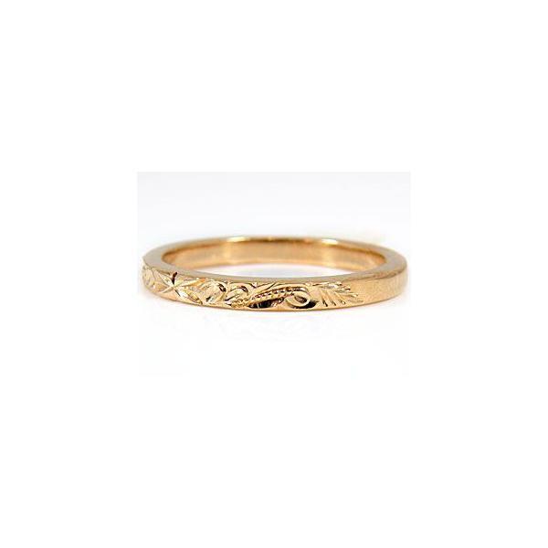 ハワイアンジュエリー 結婚指輪 ハワイアンペアリング 人気 ピンクゴールドk18 スクロール 波 2本セット ミル打ち ミル 地金リング 18金 k18pg ストレート