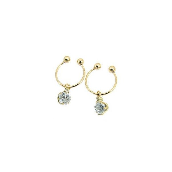 イヤリング アクアマリン ダイヤモンド イエローゴールドk18 3月誕生石 フープイヤリング ダイヤ 18金 一粒 ノンホールピアス レディース 宝石 クリスマス 女性