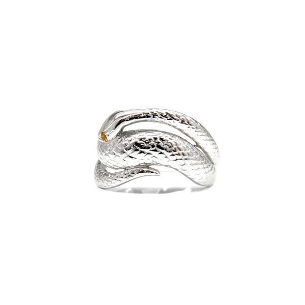 シトリンリング スネークリング シルバー925 SV925 蛇リング 指輪 11誕生石 宝石 秋 冬 クリスマス 女性