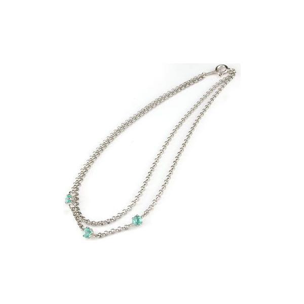 アンクレット2連 プラチナ850 ブルートパーズ オリジナル 手作り PT850 11月の誕生石 チェーン レディース 宝石 送料無料
