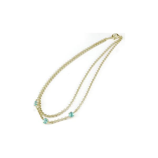 メンズ アンクレット2連 イエローゴールドK18 ブルートパーズ オリジナル 手作り k18 11月の誕生石 18金 チェーン 男性用 宝石 青い宝石 送料無料