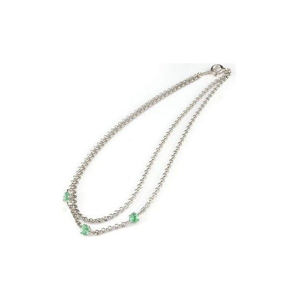 アンクレット2連 プラチナ850 エメラルド オリジナル 手作り PT850 5月の誕生石 チェーン レディース 宝石 送料無料