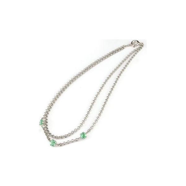 メンズ アンクレット2連 プラチナ850 エメラルド オリジナル 手作り PT850 5月の誕生石 チェーン 男性用 宝石 緑の宝石 送料無料