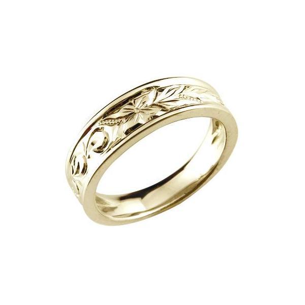 結婚指輪 エンゲージリング プロポーズリング ハワイアンリング 婚約指輪 ピンキーリング イエローゴールドk18 k18 シンプル 人気  女性 ペア 母の日