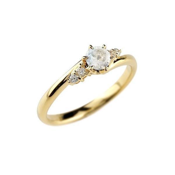 婚約指輪 エンゲージリング ブルームーンストーン ダイヤモンド リング 指輪 一粒 大粒 イエローゴールドK18 ストレート 18金 宝石 クリスマス 女性