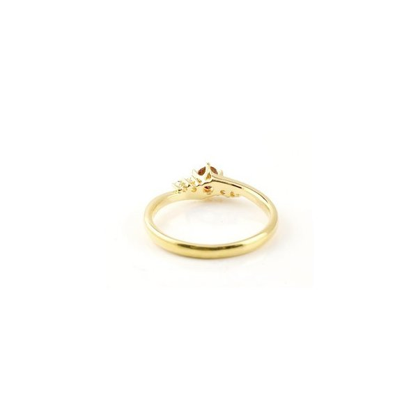 婚約指輪 エンゲージリング ガーネット ダイヤモンド リング 指輪 一粒 大粒 イエローゴールドk10 ストレート 10金 宝石 クリスマス 女性