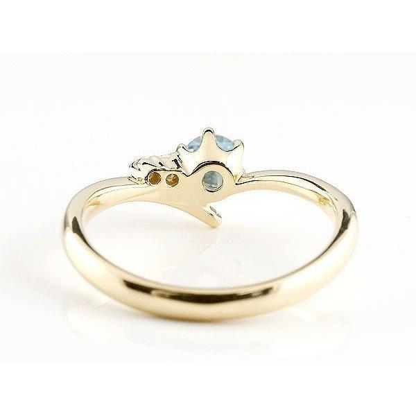 ピンキーリング 婚約指輪 エンゲージリング ブルートパーズ イエローゴールドk10リング ダイヤモンド 指輪 一粒 大粒 k10 レディース 11月誕生石 宝石