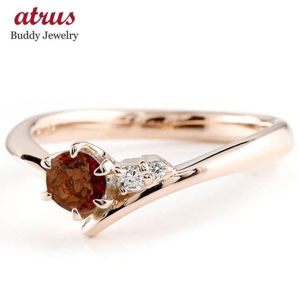 ピンキーリング 婚約指輪 エンゲージリング ガーネット ピンクゴールドk18リング ダイヤモンド 指輪 一粒 大粒 k18 レディース 1月誕生石 宝石 クリスマス 女性