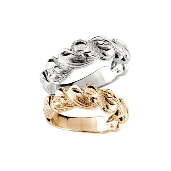 マリッジリング ハワイアン 結婚指輪 ペアリング ピンクゴールドK18 ホワイトゴールドK18 ハート ミル打ち 結婚式 18金 ストレート カップル メンズ レディース