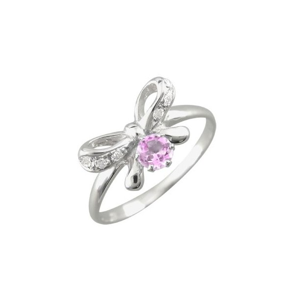 ピンキーリング ピンクサファイア ダイヤモンド リボン プラチナリング オリジナル 指輪 ダイヤ 9月誕生石 ストレート 宝石 送料無料
