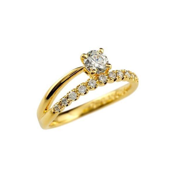婚約指輪 エンゲージリング ダイヤモンド リング ダイヤ 0.46ct 一粒 大粒 指輪 イエローゴールドk18 k18 18金 ストレート 夏 クリスマス 女性