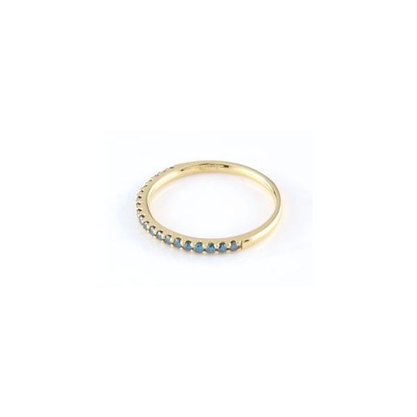 ダイヤモンド エタニティ 婚約指輪 エンゲージリング ブルーダイヤモンド ハーフエタニティ イエローゴールドk18 18金 リング ダイヤ ストレート