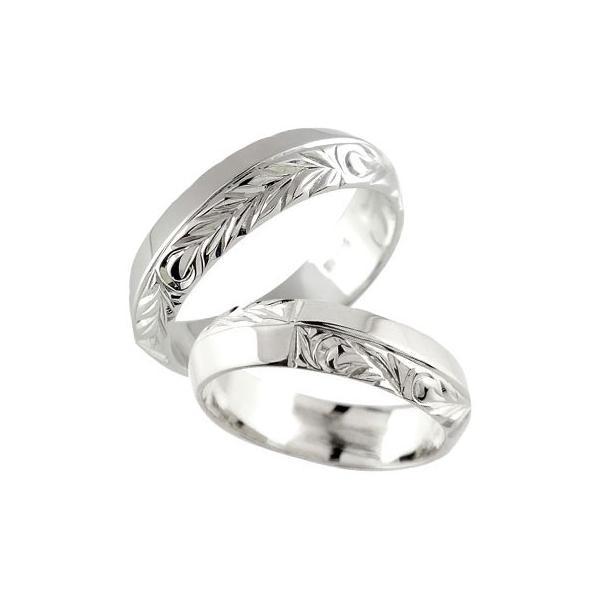 ペアリング プラチナ 2本セット PT900 ハワイアン 人気 結婚指輪 幅広 葉 波 地金リング ストレート カップル クリスマス 女性