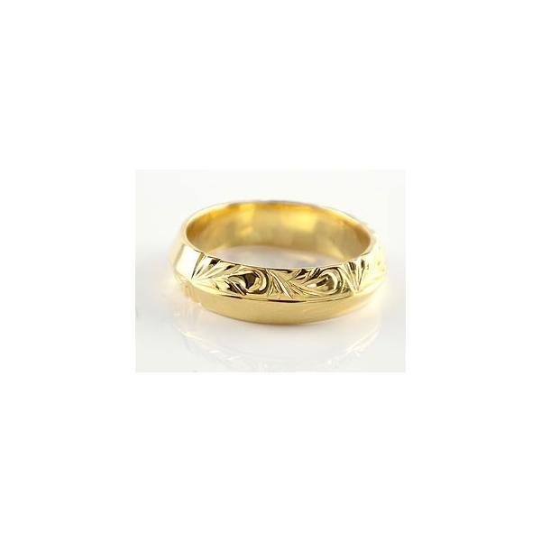 ハワイアン ペアリング 人気 結婚指輪 イエローゴールドk18 幅広 葉 波 地金リング 18金 k18yg ストレート カップル  プレゼント 女性 母の日