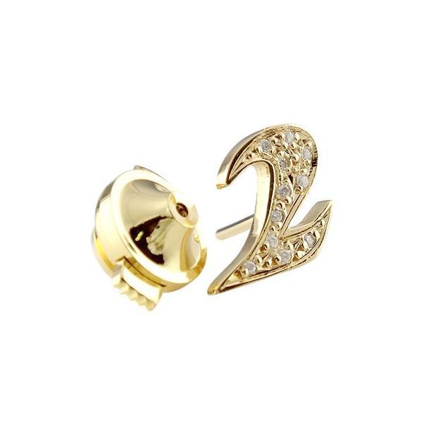 ピンブローチ ラペルピン ダイヤモンド 数字 ナンバー ゴールドk18 18金 タックピン ダイヤ 宝石 クリスマス 女性