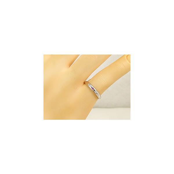 ストレート マリッジリング 甲丸 結婚指輪 ペアリング ブルーダイヤモンドダイヤモンド ピンクサファイア ホワイトゴールドk18 18金 ダイヤ 2.3 クリスマス 女性