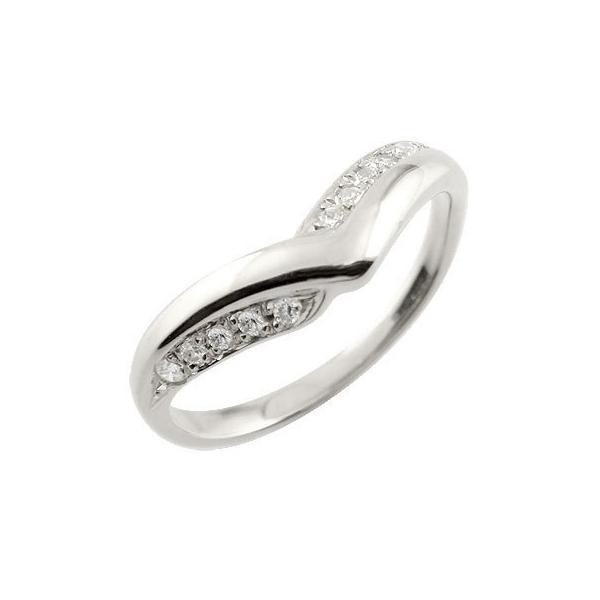 エンゲージリング プラチナ ダイヤモンド V字 婚約指輪 結婚 リング ウェーブリング ダイヤ クリスマス 女性