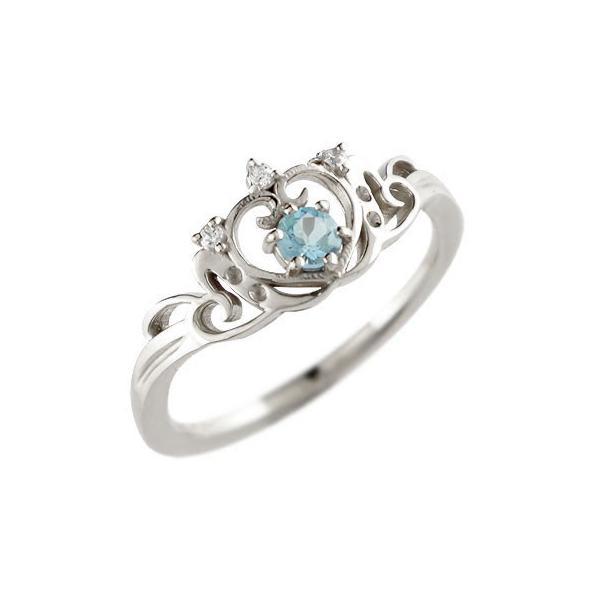 ピンキーリング ティアラ リング 指輪ダイヤモンド ホワイトゴールドk18 18k 18金 ダイヤ 4月誕生石 ストレート 王冠 クラウン プリンセス 宝石 送料無料