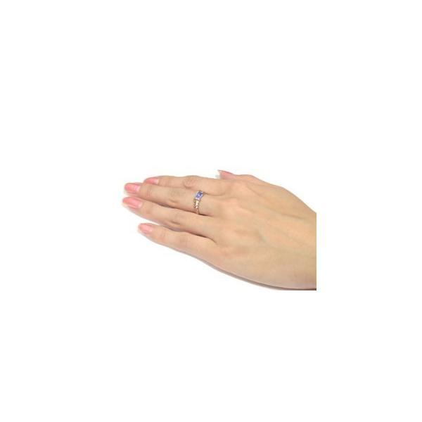 ピンキーリング ハワイアンジュエリー アメジスト リング 指輪 ピンクゴールドk18 18金 ストレート 宝石 母の日
