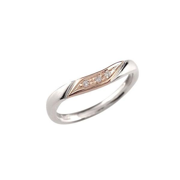 ピンキーリング ダイヤモンド リング プラチナ リング ピンクゴールドk18 18金 ダイヤモンドリング ダイヤ ストレート スリーストーン クリスマス 女性