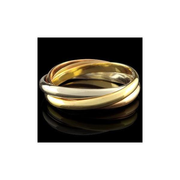 リング ゴールド ピンキーリング 指輪 3連ホワイトゴールドk18 イエローゴールドk18 ピンクゴールドk18 地金リング 宝石なし 18金 ストレート 2.3 送料無料