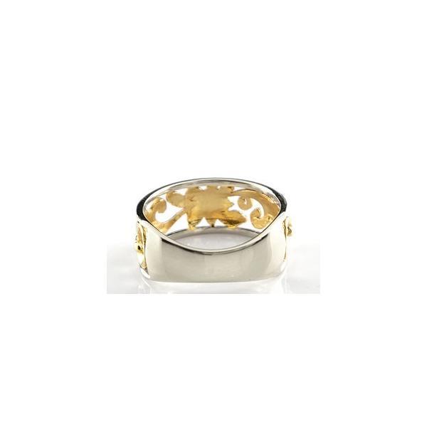ピンキーリング ハワイアンジュエリー プラチナ リング 指輪 幅広 透かし イエローゴールドk10 ハワイアンリング 地金リング 10金 pt900 k10yg ストレート