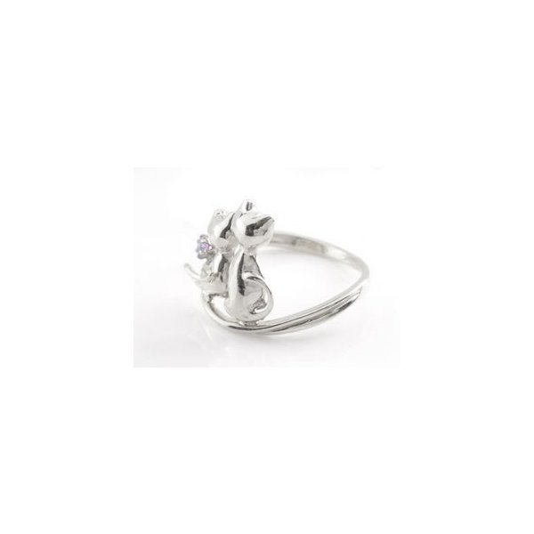 ピンキーリング 猫 プラチナ リング ピンクサファイア 指輪 9月誕生石 ストレート 宝石 クリスマス 女性