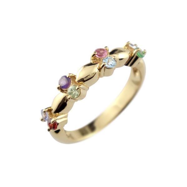 ピンキーリング 指輪 アミュレット リング イエローゴールドk18 18金 ストレート 宝石
