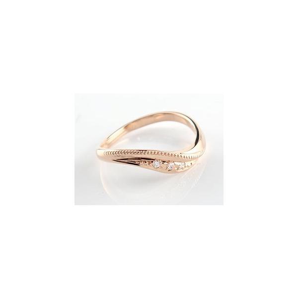 ペアリング 結婚指輪 ダイヤモンド マリッジリング ピンクゴールドk18 結婚式 ダイヤ 18金 ストレート カップル  プレゼント 女性